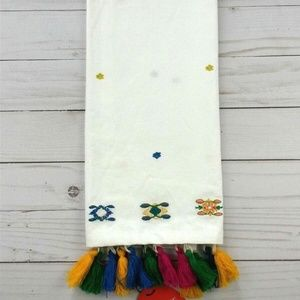 (2) Embroidered w/ Colored Tassels Kitchen Towels